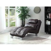 Contemporary Brown Faux Leather Chaise Product Image