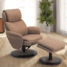 Denmark Recliner and Ottoman in Taupe Fabric Product Image