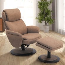 Denmark Recliner and Ottoman in Taupe Fabric