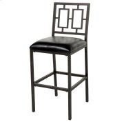 Lansing Bar Stool with Coffee Finished Metal Frame, Patterned Seatback and Black Faux Leather Upholstery, 30-Inch Seat Height Product Image