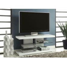 Contemporary Glossy White TV Console
