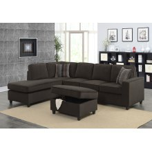Corvin Chocolate Brown Reversible Sectional with Storage Ottoman