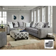 Stonewash Black 2PC Grey Fabric Sectional