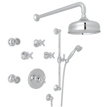Polished Chrome Palladian Thermostatic Shower Package with Cross Handle