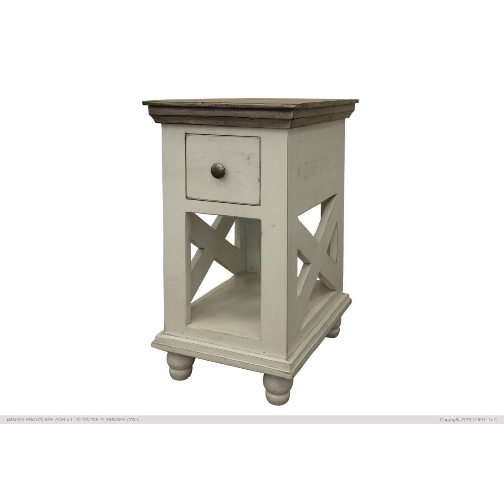 1 Drawer, Chair Side Table, Ivory finish