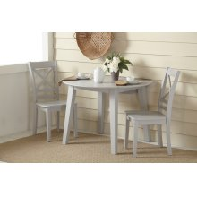 Simplicity Round Drop Leaf Table With 4 X Back Chairs - Dove