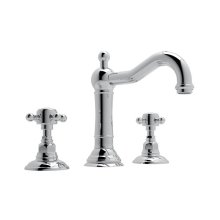 Polished Chrome Acqui Column Spout Widespread Lavatory Faucet with Cross Handle