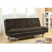 Contemporary Overstuffed Brown and Chrome Sofa Bed Product Image