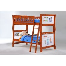 Scribbles Twin Twin Bunk in Cherry Finish