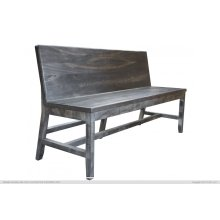 Solid wood Bench w/ Back Rest, Moro finish
