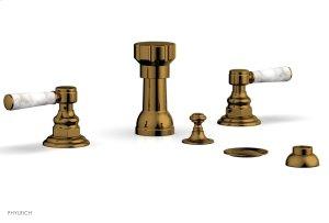 HENRI Four Hole Bidet Set - White Marble Lever Handles 161-62 - French Brass Product Image