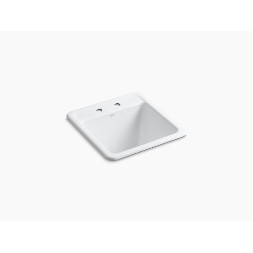 """White 21"""" X 22"""" X 13-3/4"""" Top-/under-mount Utility Sink With 2 Faucet Holes"""