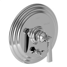 Aged Brass Balanced Pressure Tub & Shower Diverter Plate with Handle. Less Showerhead, arm and flange.