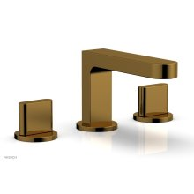 ROND Widespread Faucet - Blade Handles Low Spout 183-04 - French Brass