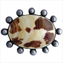 Beaded Oval with Natural Shell