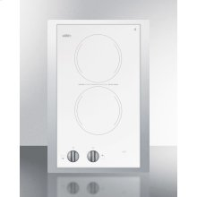 "230v European Two-burner Radiant Cooktop In White Glass With Stainless Steel Frame To Allow Installation In 15"" Wide Counter Cutouts"