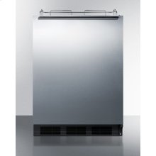 Built-in Undercounter ADA Height Commercially Listed Beer Dispenser With Stainless Steel Wrapped Door and Black Cabinet; No Tapping Equipment Included