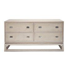 4 Drawer Cerused Oak Chest With Nickel Campaign Hardware