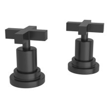"""Matte Black Lombardia Set Of Hot & Cold 1/2"""" Sidevalves with Cross Handle"""