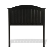 Finley Wood Headboard Panel with Curved Top Rail and Slatted Grill Design, Black Finish, Twin