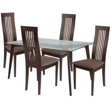 5 Piece Espresso Wood Dining Table Set with Glass Top and Framed Rail Back Design Wood Dining Chairs - Padded Seats