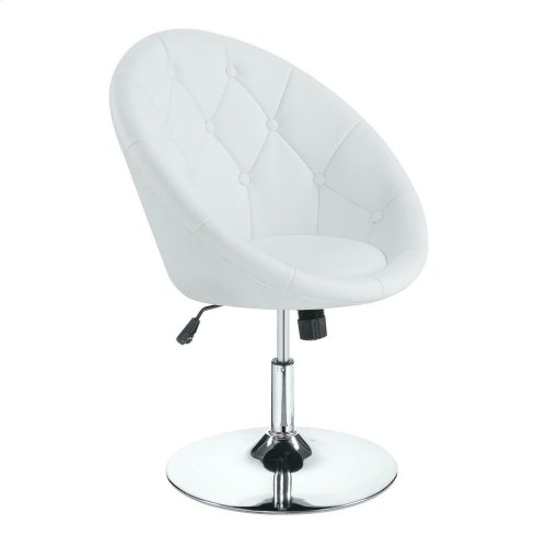 Amazing Contemporary White Faux Leather Swivel Accent Chair Ncnpc Chair Design For Home Ncnpcorg