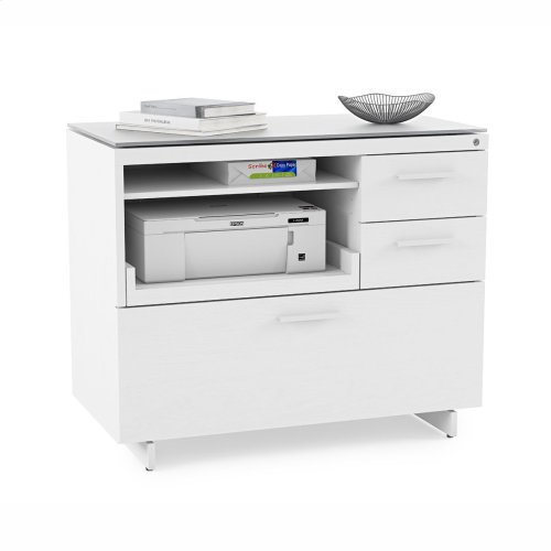 Multifunction Cabinet 6417 in Satin White Painted Oak Grey Glass