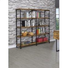 Barritt Industrial Antique Nutmeg Double-wide Bookcase
