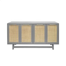 Four Door Cabinet With Cane Door Fronts and Brass Hardware In Matte Grey Lacquer