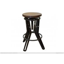 "24"" - 30"" Adjustable Height Iron Stool w/ wooden seat"