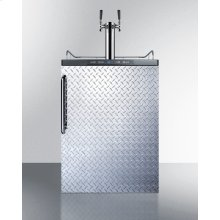 Built-in Residential Beer Dispenser, Auto Defrost With Digital Thermostat, Dual Tap System, Diamond Plate Door, Towel Bar Handle, and Black Cabinet