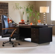 Seven Drawer Desk With Black Leather Top