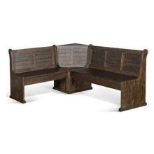 Homestead Long Bench & Corner Back, Wood Seat