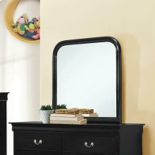 Louis Philippe Black Square Dresser Mirror With Rounded Edges