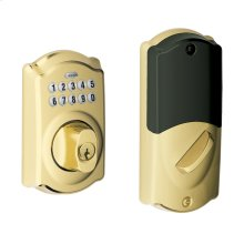 Camelot Trim Connected Keypad Deadbolt - Bright Brass
