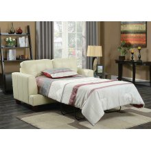 Samuel Transitional Cream Loveseat Sleeper