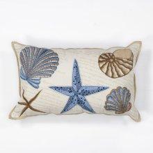 "L168 Seashells Pillow 12"" X 20"""