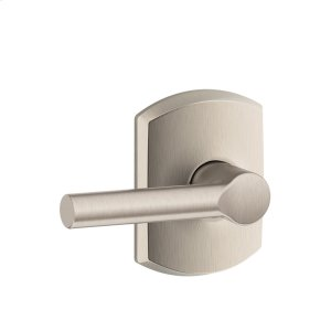 Broadway Lever with Greenwich trim Hall & Closet Lock - Satin Nickel Product Image