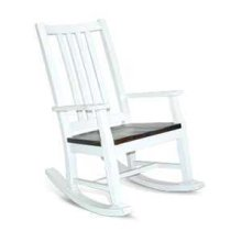 Bourbon County Slatback Rocker w/ Wood Seat-2 Tone