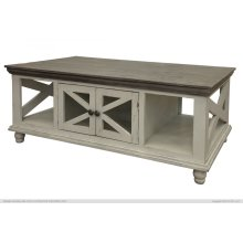 4 Door, Cocktail Table, Ivory finish