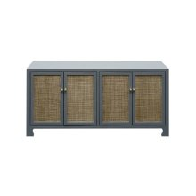 Four Door Cane Cabinet With Brass Hardware In Matte Grey Lacquer Finish