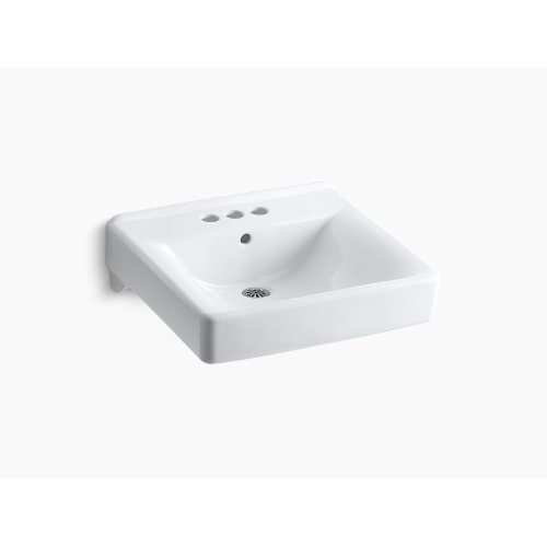 "Almond 20"" X 18"" Wall-mount/concealed Arm Carrier Arm Bathroom Sink With 4"" Centerset Faucet Holes"