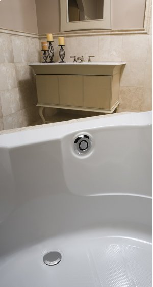"""PushControl Bath Waste and Overflow A simple push Molded plastic - Polished chrome Material - Finish 17"""" - 24"""" Tub Depth* 27"""" Cable Length Product Image"""
