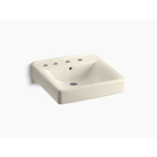 "Almond 20"" X 18"" Wall-mount/concealed Arm Carrier Bathroom Sink With 8"" Widespread Faucet Holes and Left-hand Soap Dispenser Hole"