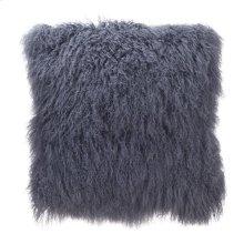 Lamb Fur Pillow Large Grey Blue