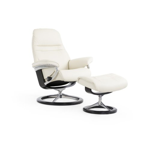 Stressless Sunrise Medium Signature Base Chair and Ottoman