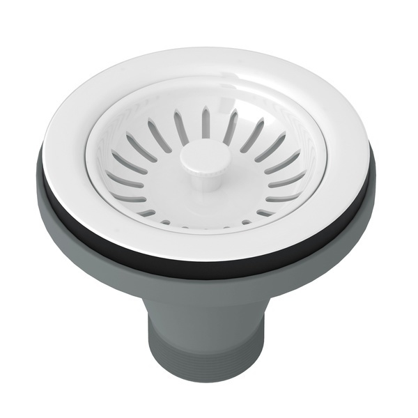 White Manual Basket Strainer Without Remote Pop-Up