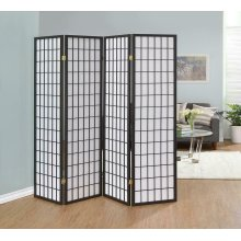 Dark Grey Four Panel Folding Screen