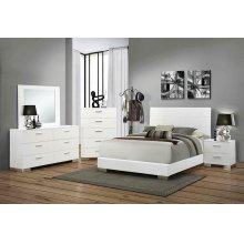 Felicity Contemporary Glossy White Eastern King Bed