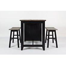 1702 3PC Counter Height Dinette Set in Vintage Black